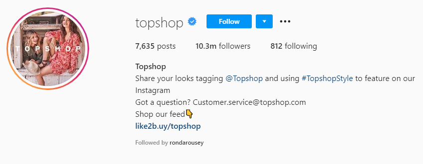 topshop page