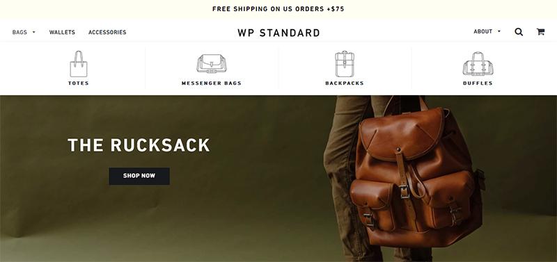 WP Standard homepage