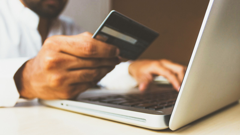 Person paying online card