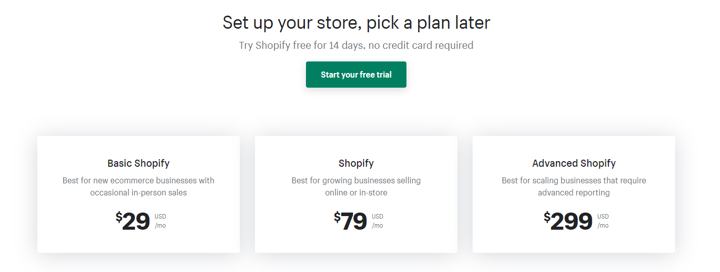 Set up your store, pick a plan later